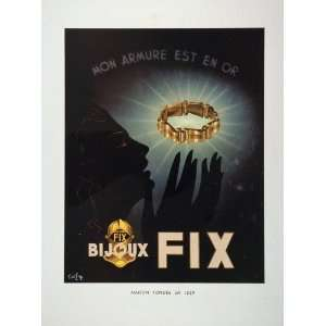 1948 French Art Deco Ad Bijoux Fix Gold Jewelry NICE   Original Print