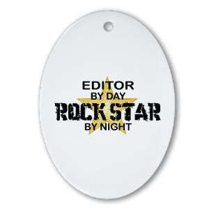 Editor Rock Star Funny Oval Ornament by