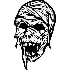 MUMMY SKULL WHITE VINYL DECAL STICKER