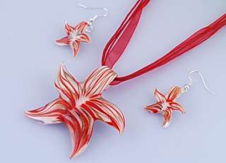 14365 6sets Starfish Murano Glass Necklace Earrings