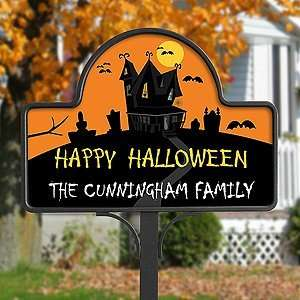 Personalized Halloween Haunted House Yard Stakes Patio