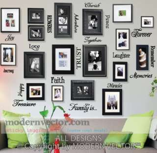 Picture Collage Words Vinyl Wall Quote Decals FAMILY IS