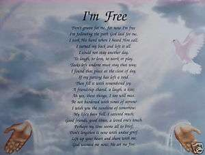 PERSONALIZED MEMORIAL POEM DONT GRIEVE FOR ME IM FREE