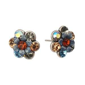 Michal Negrin Stud Earings with Hand Painted Flowers, Blue, Grey and