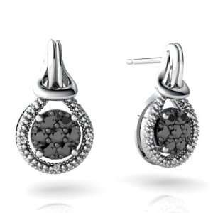 14K White Gold Black Diamond Love Knot Earrings Jewelry