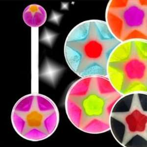 Biopierce   UV Purple Orange Acrylic Star Belly Rings