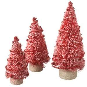 Pack of 6 Festive Red Flocked Table Top Christmas Tree