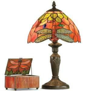 Dale Tiffany Dragonfly Accent Lamp with Jewel Box
