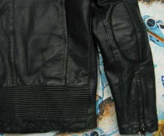 vtg AMF Harley Davidson BLACK LEATHER Motorcycle JACKET Mens M MED 40