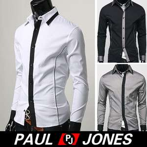 New Mens Casual Stylish& Designed Fit Luxury Dress Shirts 3Colors