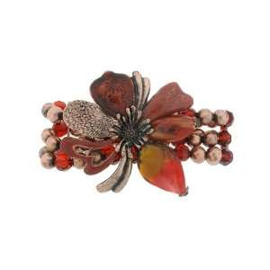 Fashion Jewelry ~ Murano Glass Red Flower Beaded Stretch