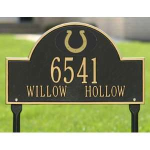 Indianapolis Colts Black & Gold Personalized Address Plaque with lawn
