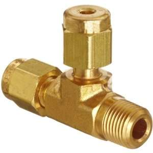 Parker A Lok 2MRT2N B Brass Compression Tube Fitting, Run Tee, 1/8