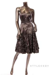 JESSICA SIMPSON Pleated Empire Waist Strapless Dress Taupe 10