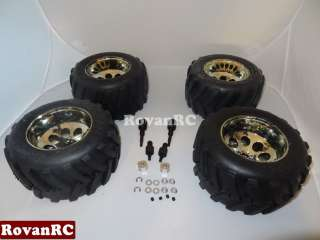 Truck Tires on chrome rims with adapters fits HPI Baja 5T Truck