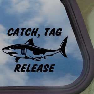Shark Catch Tag Release Black Decal Truck Window Sticker