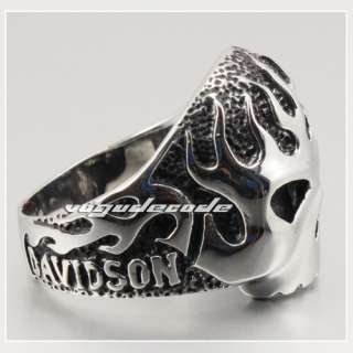 & Punk 316L Stainless Steel Fire Skull Men`s Biker Ring L034