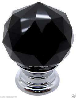 Crystal Glass Handle Knob Cabinet Door LILY30 Black 5060193230399