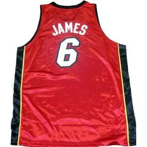 LeBron James Unsigned Authentic Miami Heat Red Jersey