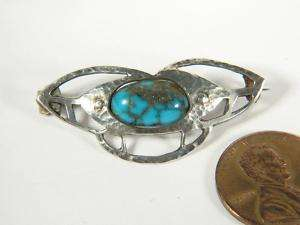 ANTIQUE ENGLISH ARTS CRAFTS SILVER TURQUOISE PIN BROOCH