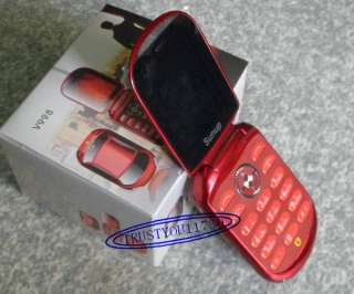 FASHION COOL RED FLIP V98 CAR CELL PHONE DUAL BAND UNLOCKED GSM