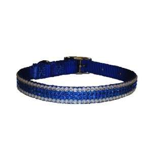 Swarovski Crystal Capri Blue Clear Dog Collar 16