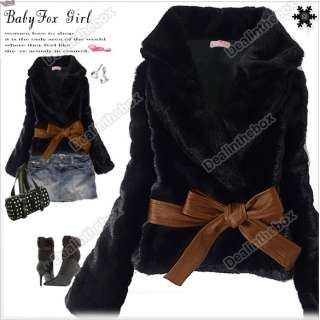 Fashion Fabulous Chic Faux Fur Long Sleeve Rabbit Hair Warm Coat