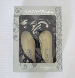 RAMPAGE New Black White Zebra Print Ballet Slippers Womens S (5 6