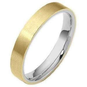 Traditional 4mm Flat Comfort Fit 14 Karat Two Tone Gold Wedding Band