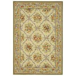 French Garden Ivory/ Light Peach Wool Rug (5 x 8)