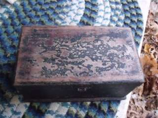 Victorian Rustic Primitive Antique 1870s Wood Jewelry Box Leather