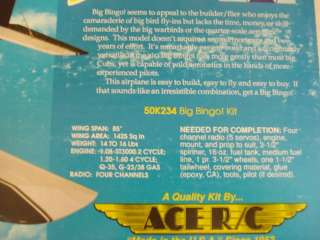 ACE BIG BINGO R/C MODEL AIRPLANE KIT ** NEW IN BOX **