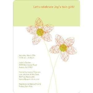 Twin Flowers Baby Shower Invitations