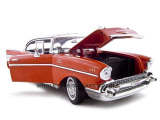 1957 CHEVROLET BEL AIR HARD TOP RED 118 DIECAST MODEL