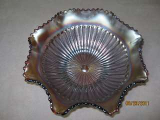 Northwood Stippled Rays Carnival Glass Bowl