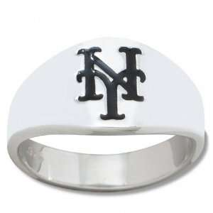 New York Mets Mens Sterling Silver Cigar Band Ring