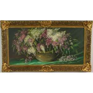 Large Framed Oil Painting Purple Flowers Signed Duin