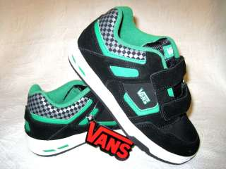 Vans Knightro Boys Girls Skate Shoes Size 13 1 2 3 Youth Black Green