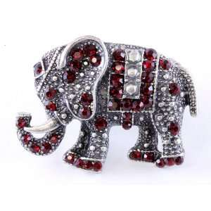 Elephant Bling Red Crystal Studded Cocktail Elephant Ring