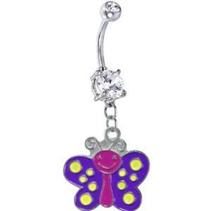 Purple Yellow Polka Dot Butterfly Belly Ring Jewelry