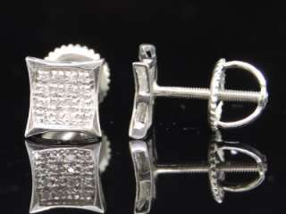 MENS LADIES WHITE GOLD FINISH PAVE DIAMOND STUD EARRING