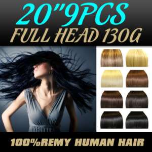 20 9PCS FULL HEAD HUMAN HAIR CLIP IN EXTENSION ,130g