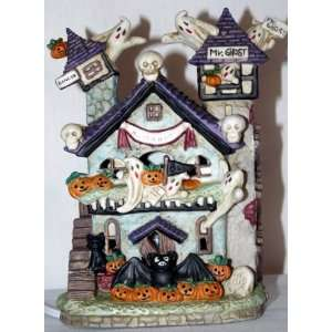 Halloween Ceramic Light Up Mr. Ghost Haunted House