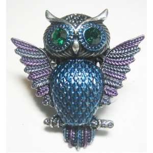 Rockabilly Dark Night Blue OWL with Blue Crystal Stone Fashion