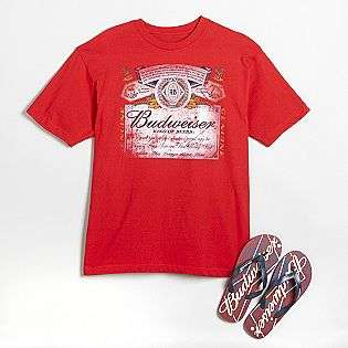 Young Mens Budweiser Light Tee & Flip Flops  Clothing Young Mens