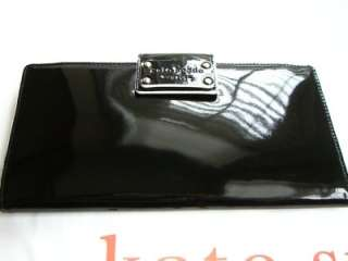 Kate Spade Pasadena Black Patent Leather Travel Wallet $175
