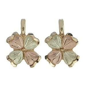 Black Hills Gold 10K Four Leaf Clover Earrings Jewelry