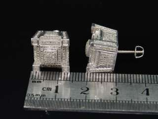MENS WHITE GOLD FINISH 3D BLOCK DIAMOND EARRINGS STUDS