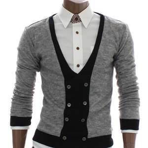 Doublju Mens Cardigan Button V neck Sweater GRAY (DAK15