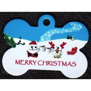 Merry Christmas Santa Sharing Drink Pet Tags Direct Id Tag